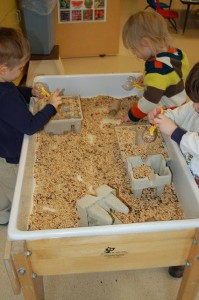 kids play with birdseed in the water table (today it's a birdseed table!)